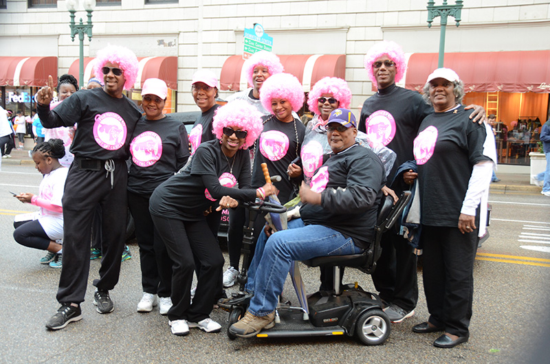 Pink wigs group photo