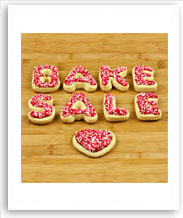 cookies spelling out bake sale